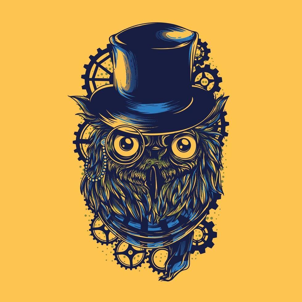 Owl with a scarf steampunk tshirt design vector