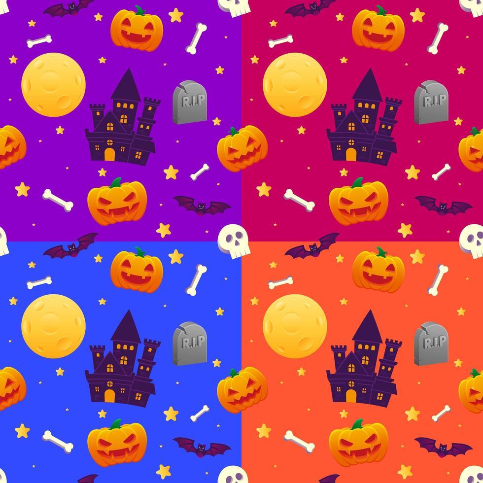 Halloween haunted house and pumpkin seamless pattern vector