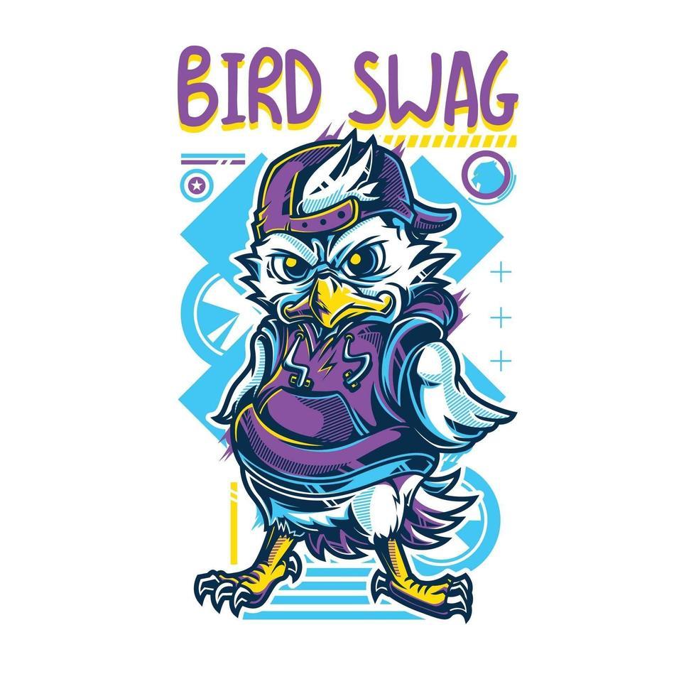 diseño de camiseta de botín de pájaro vector