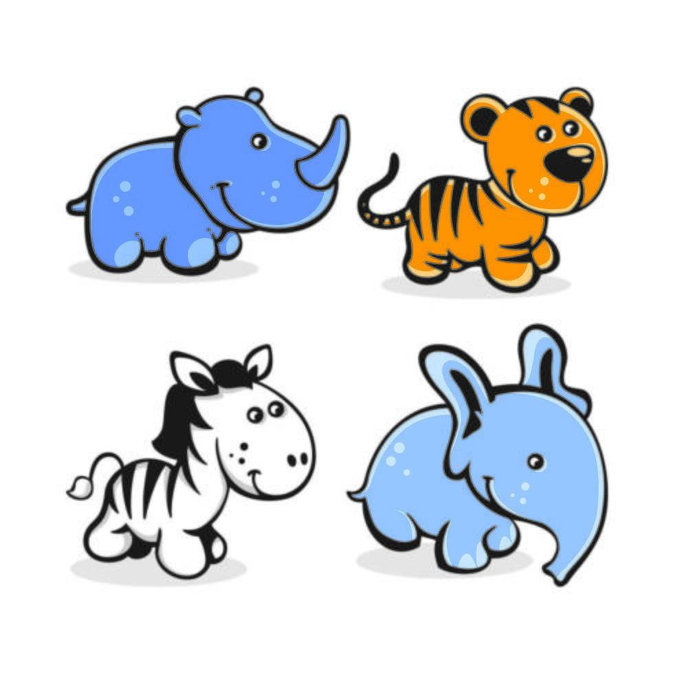 Set of cute cartoon baby animals vector