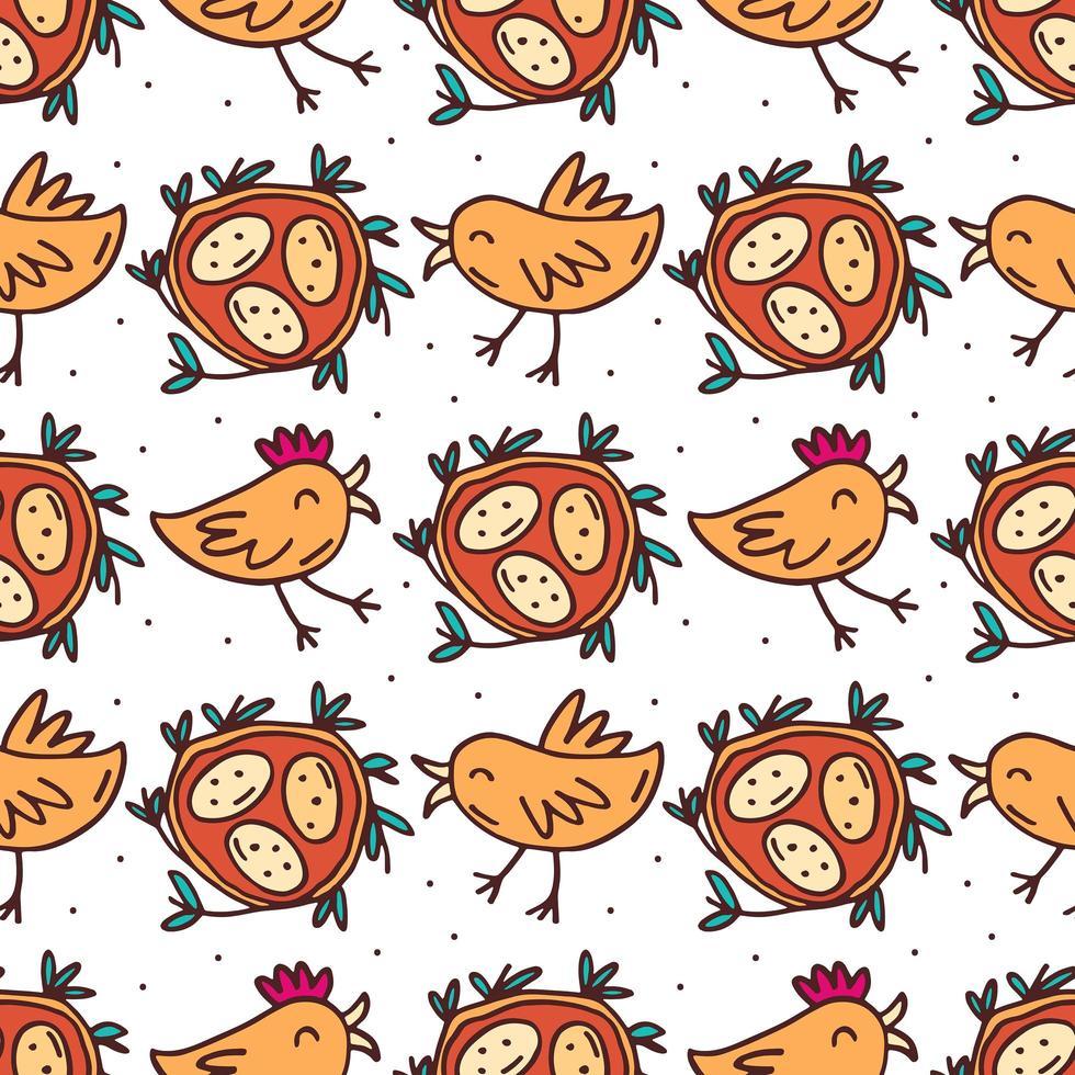 pájaros con nido y huevos dibujados a mano de patrones sin fisuras vector
