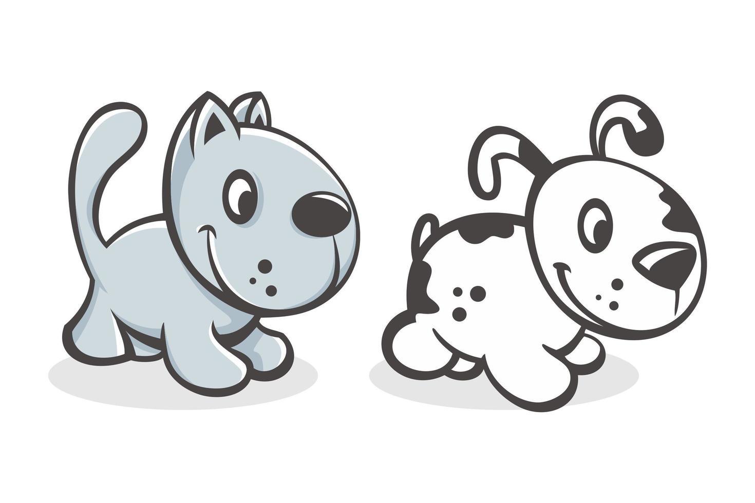 conjunto de dibujos animados lindo bebé gato y perro vector