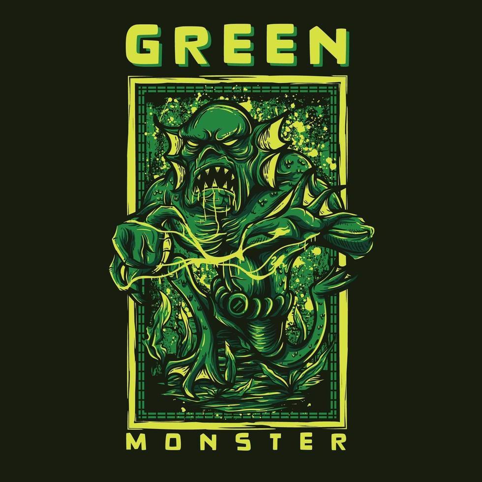 diseño de camiseta de monstruo verde vector
