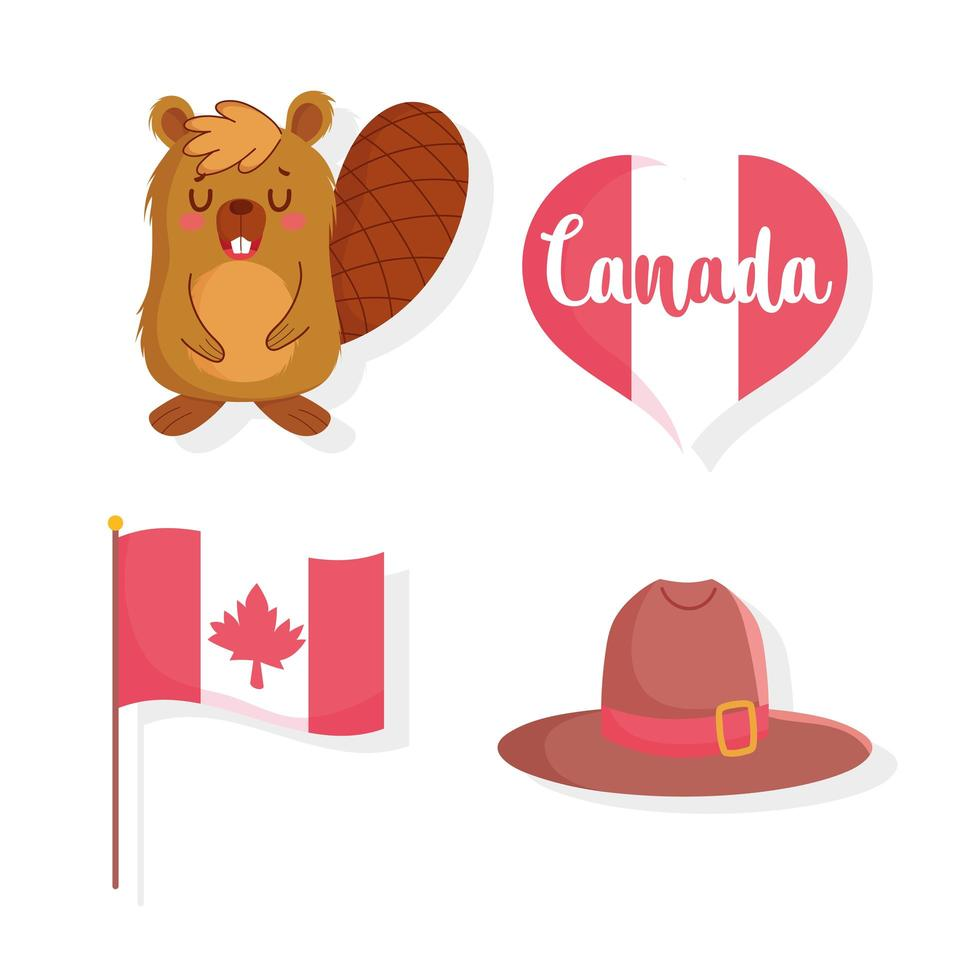 Beaver, flag, heart, and hat  for Canada Day vector