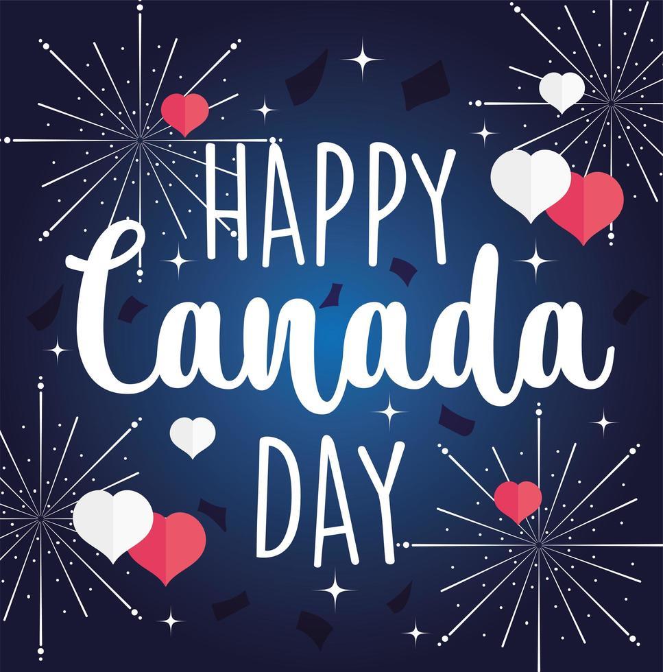 feliz día de canadá texto con fuegos artificiales y corazones vector