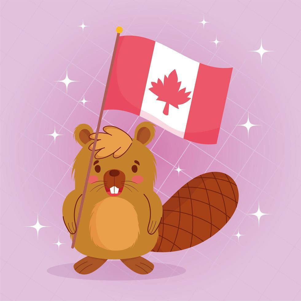 castor con bandera canadiense para feliz día de canadá vector