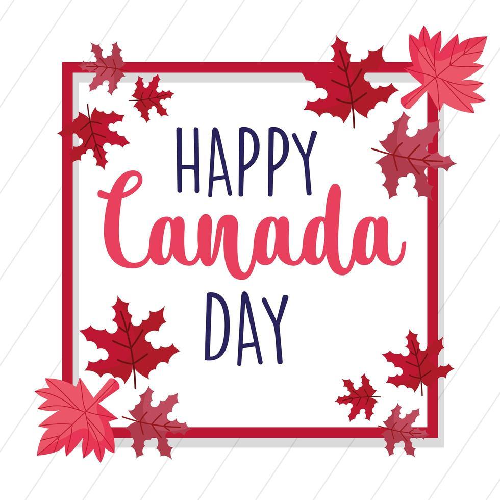 marco de hojas de arce canadiense para el feliz día de canadá vector