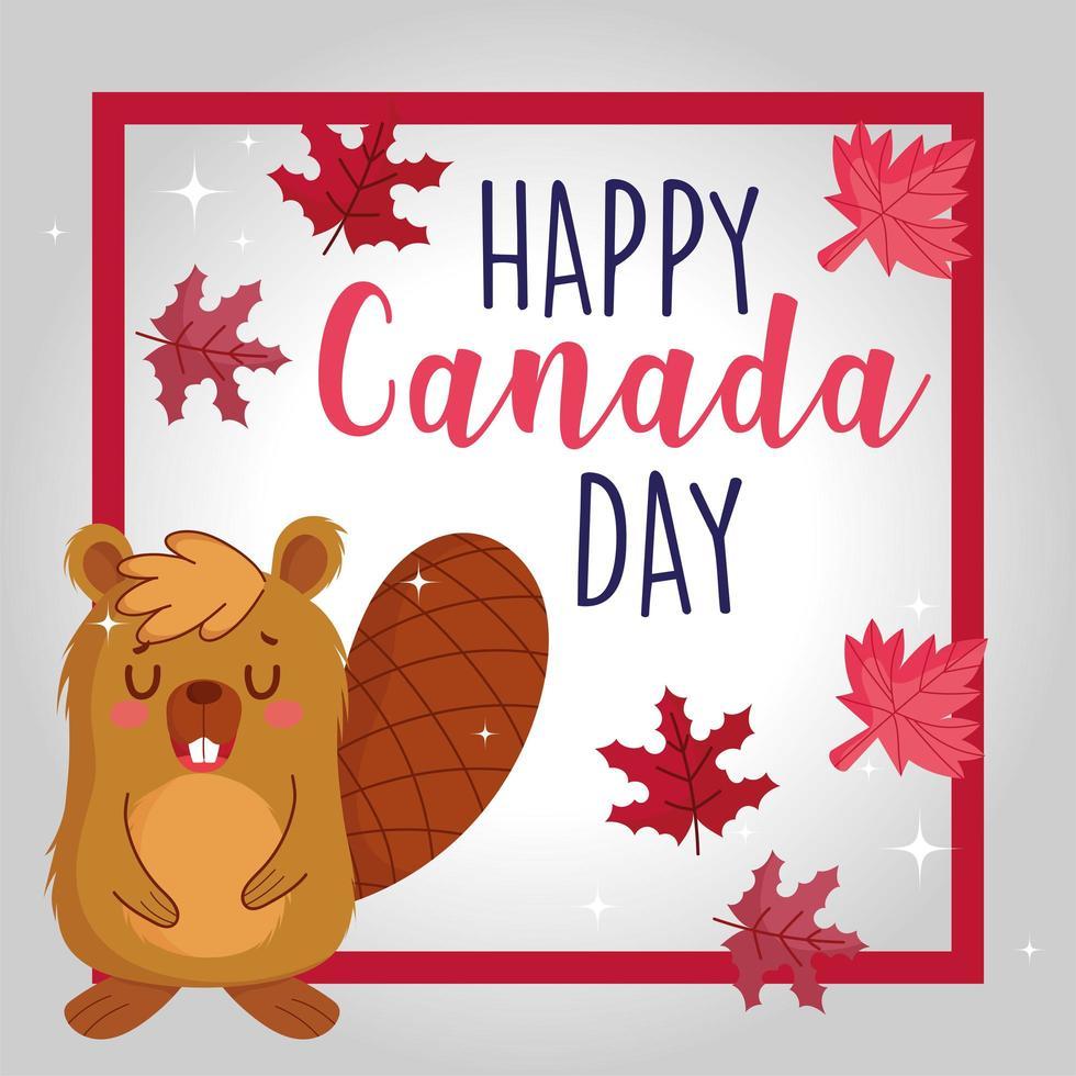 castor con marco y hojas de arce canadiense vector