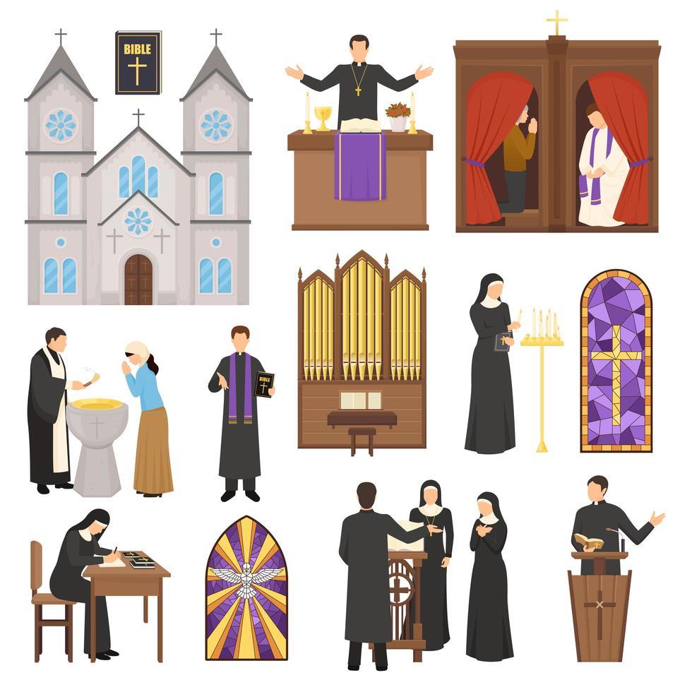 conjunto de personajes religiosos e iglesias. vector