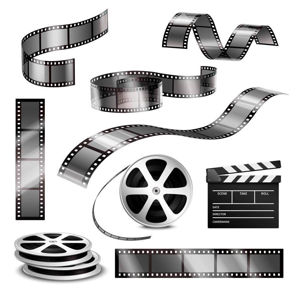 conjunto de carretes de tira de película realista vector