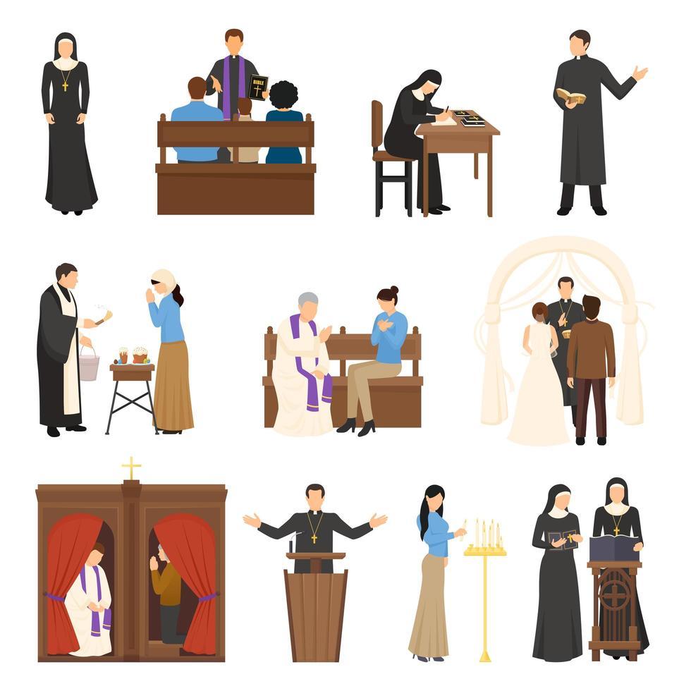 conjunto de personajes religiosos vector