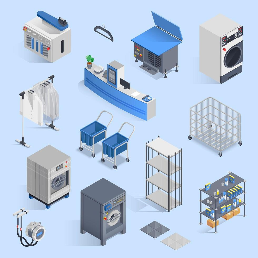 Isometric dry cleaning and laundry set  vector