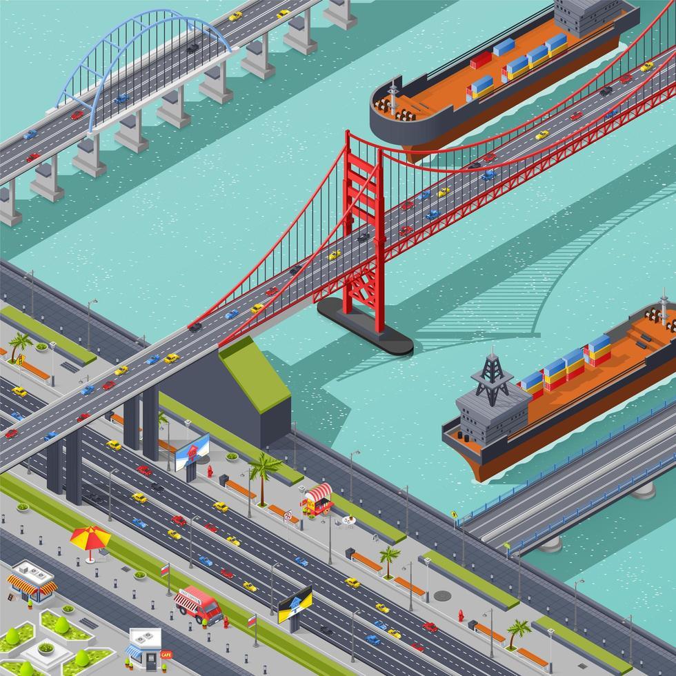 vista superior isométrica de una ciudad con puentes. vector