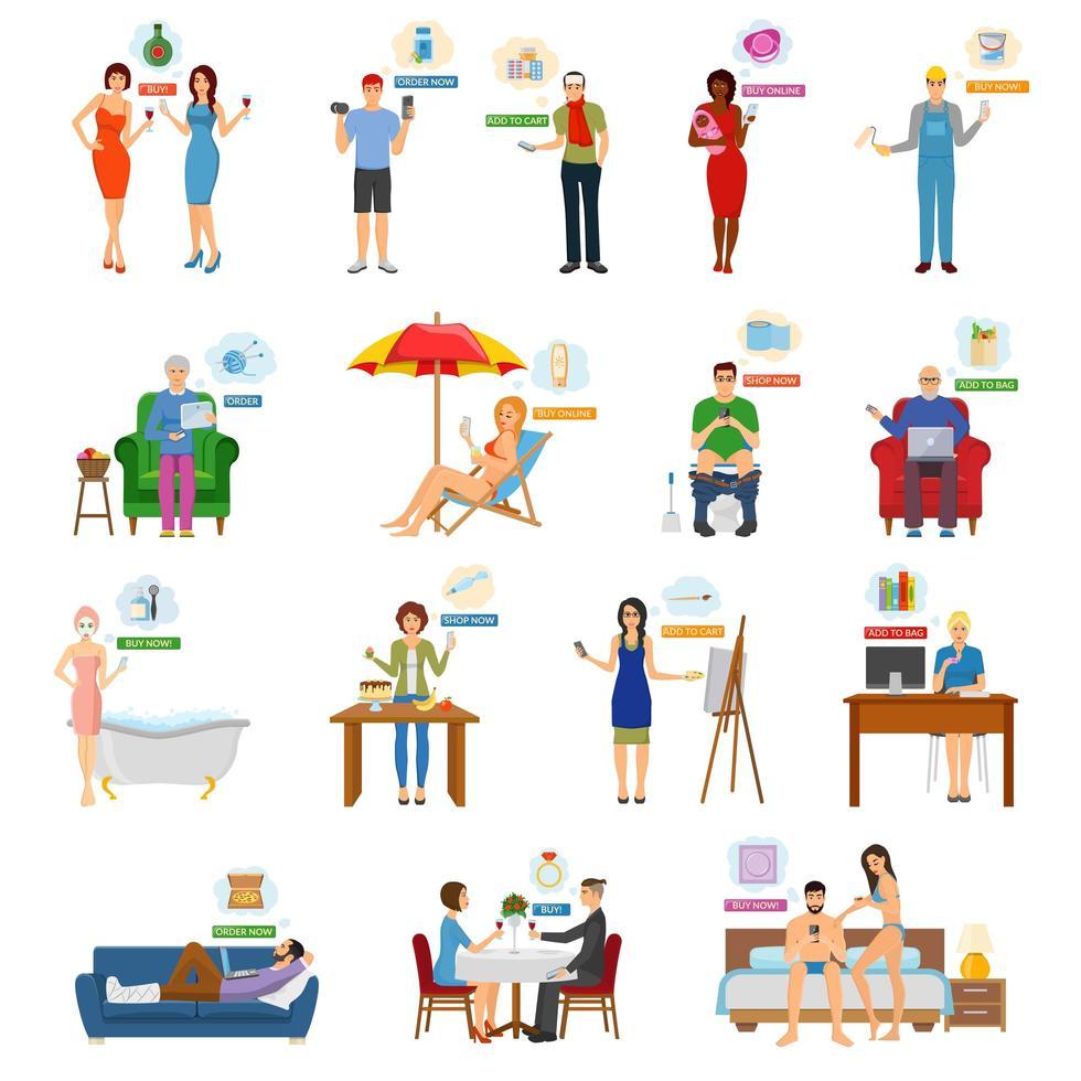 situaciones de compras online y comercio electrónico vector