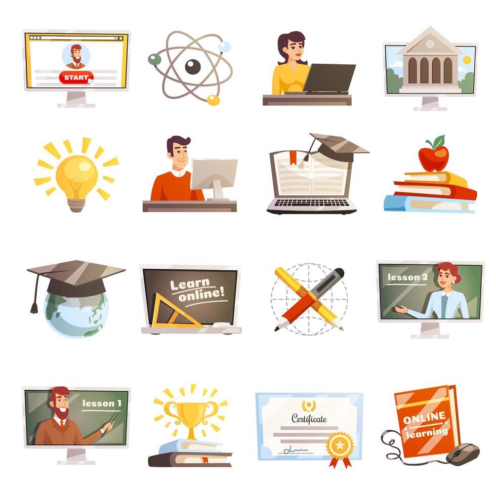 conjunto de educación a distancia y aprendizaje en línea vector