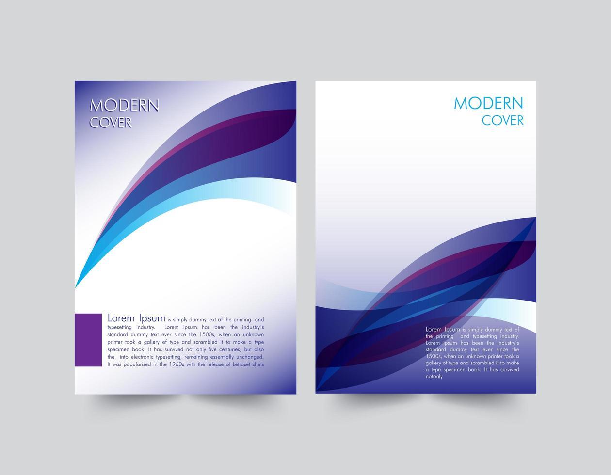 plantilla de portada de informe azul púrpura moderno vector