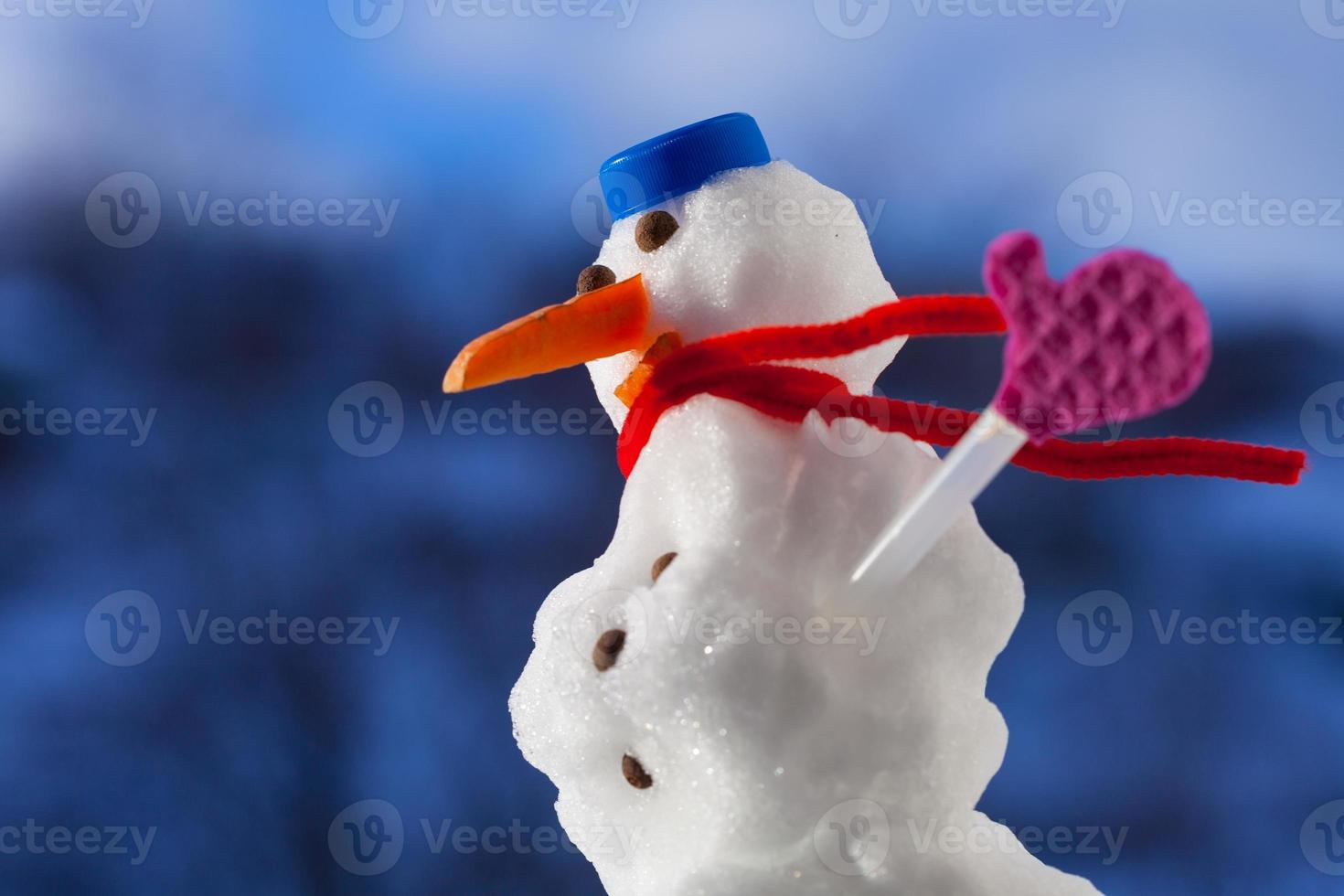 Little happy christmas snowman with pink gloves outdoor. Winter season. photo