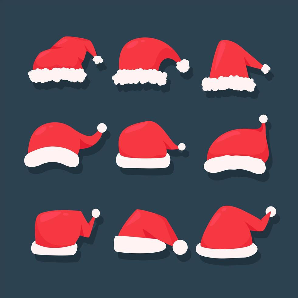 Red Christmas hat set vector