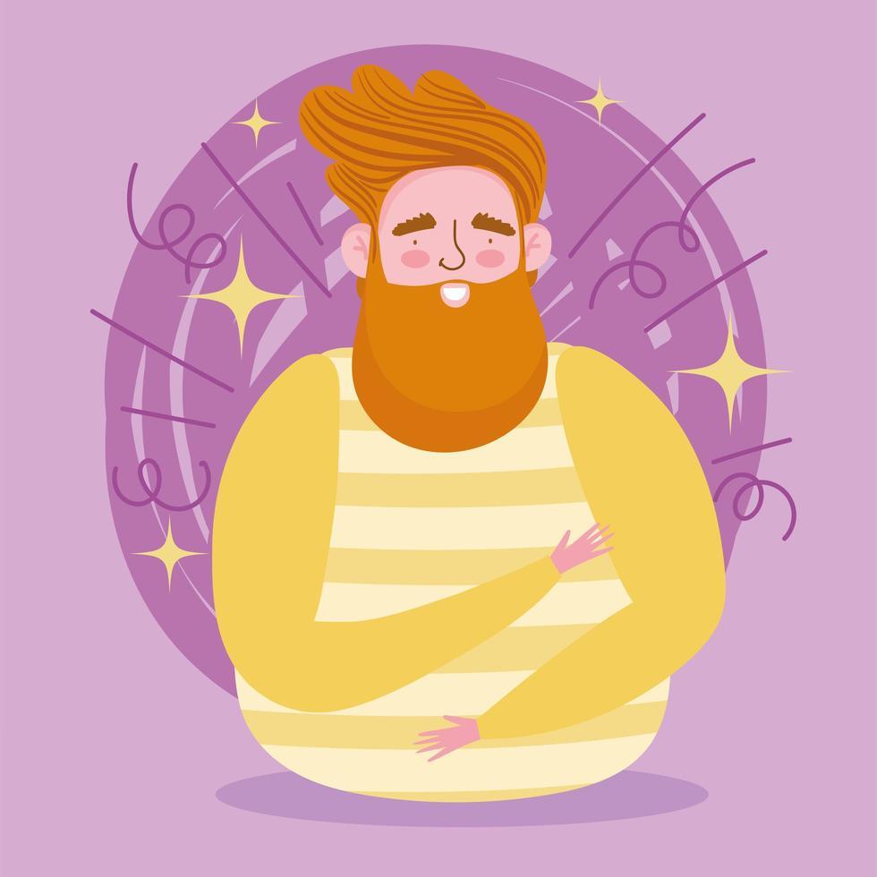 avatar hombre de dibujos animados con barba vector