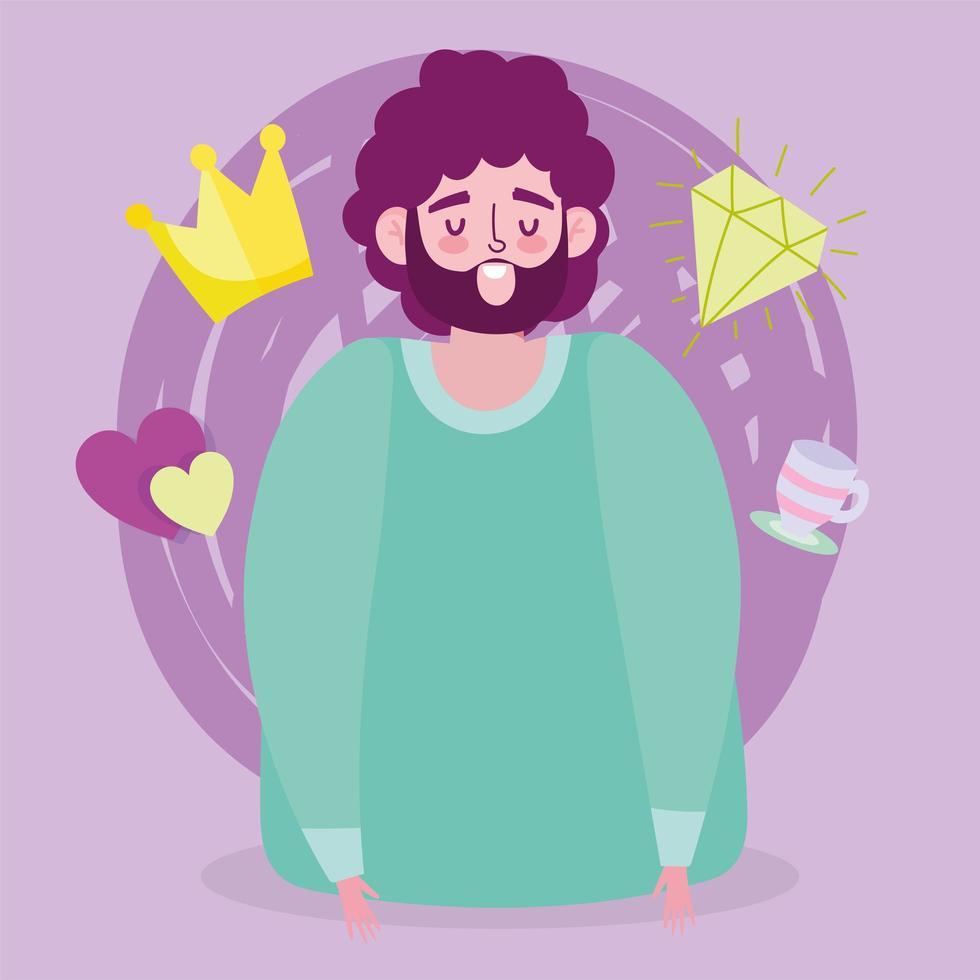 Avatar man cartoon with crown and diamond vector