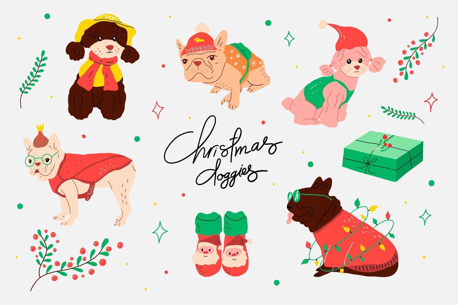 conjunto de disfraces navideños para perros vector