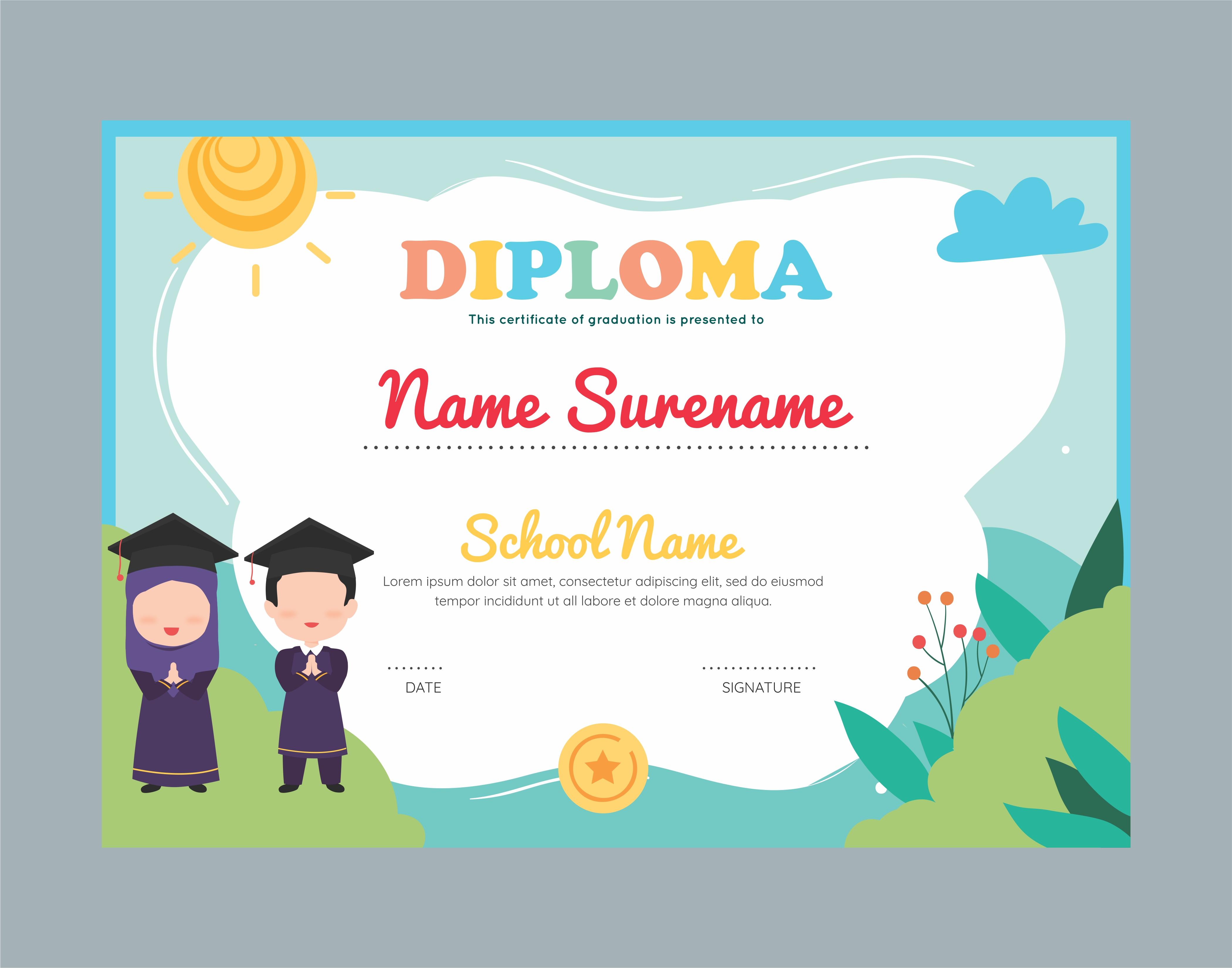 Muslim garden diploma certificate template for kids 21 Vector For Preschool Graduation Certificate Template Free