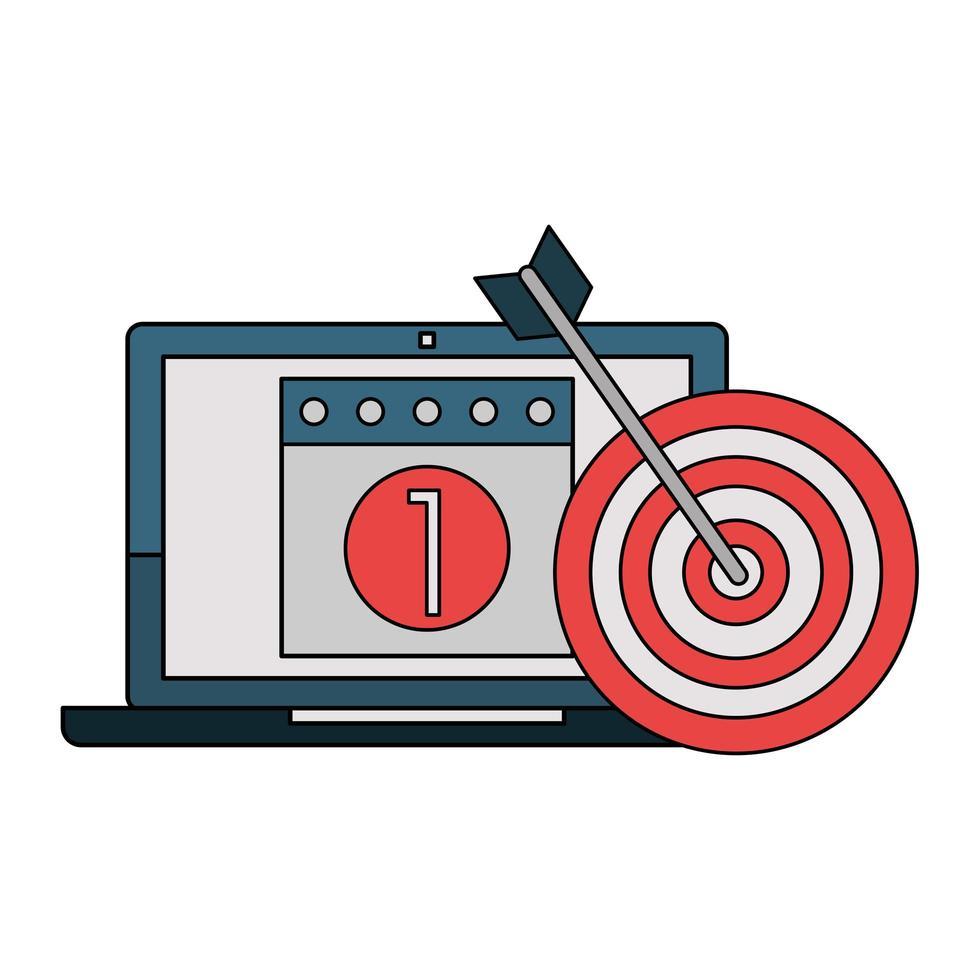 símbolos de tecnología empresarial portátil y flecha vector
