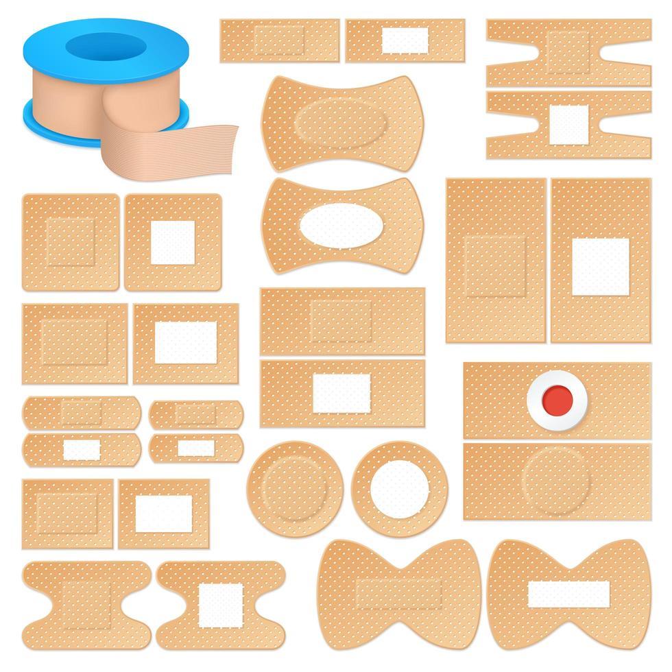 conjunto de vendajes adhesivos realistas vector