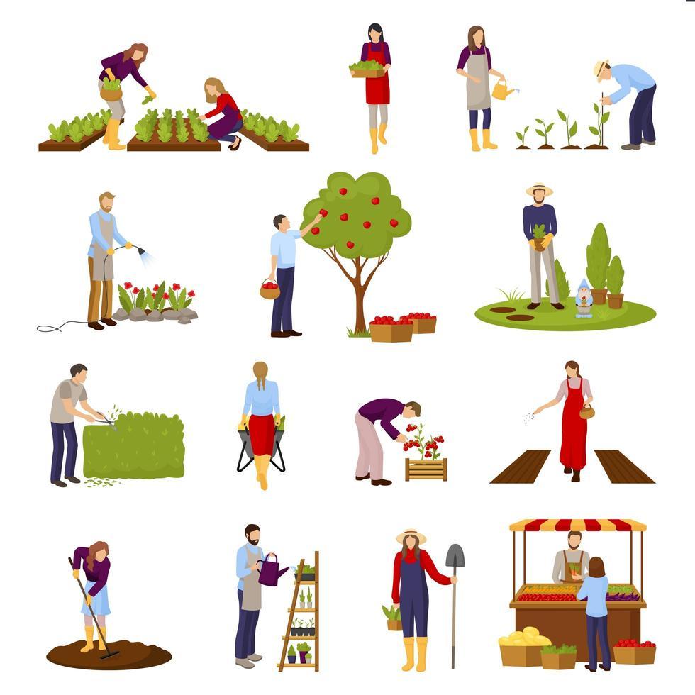 conjunto de agricultura y jardinería. vector