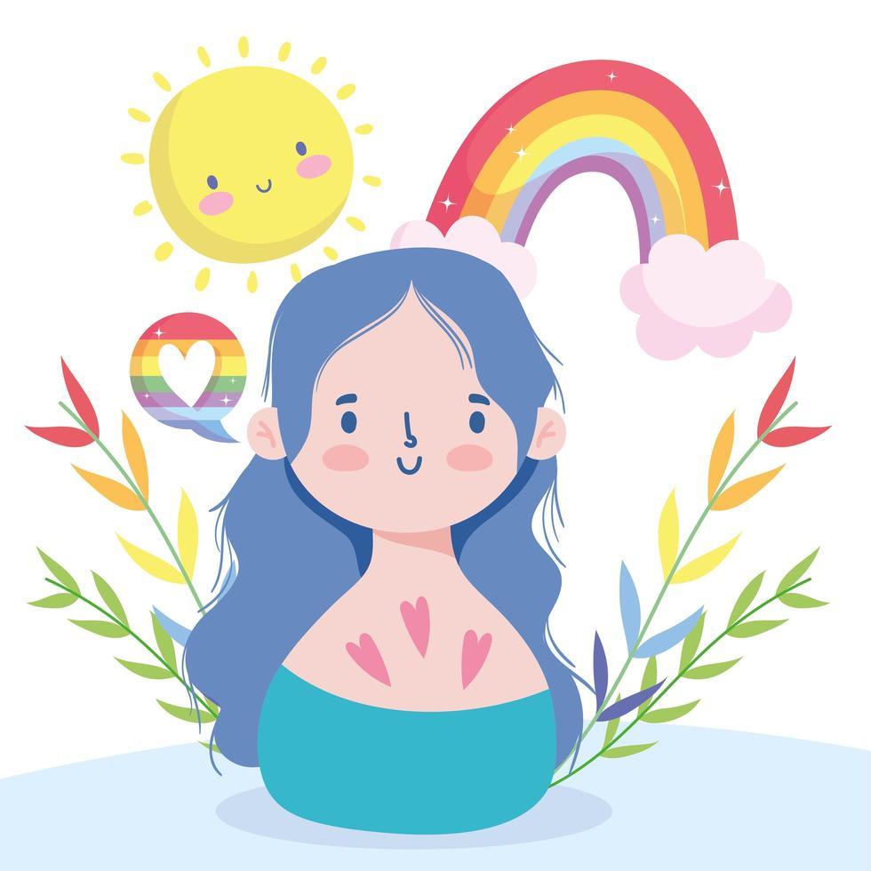 dibujos animados de niña con arco iris lgbti vector
