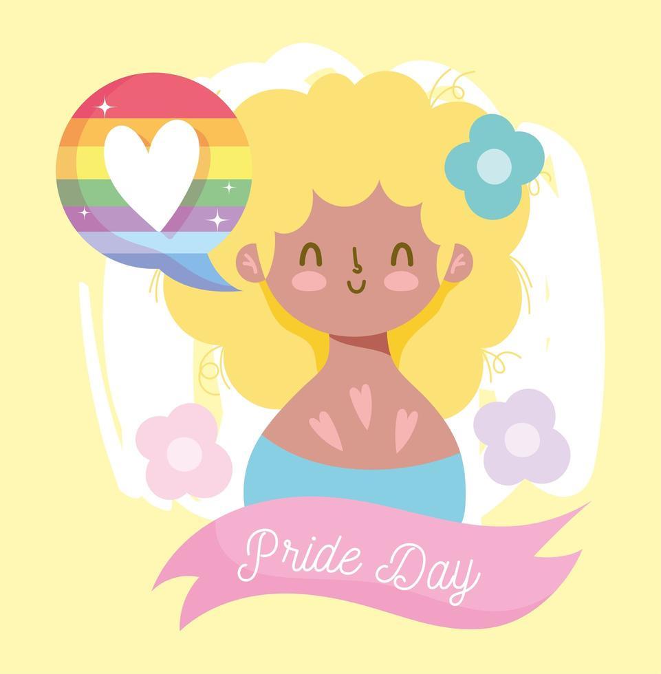 caricatura de niña con burbuja de corazón lgbti vector