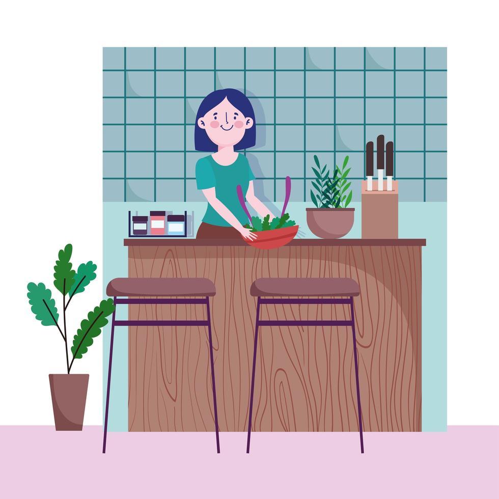 Mujer con verduras en un recipiente en la cocina vector
