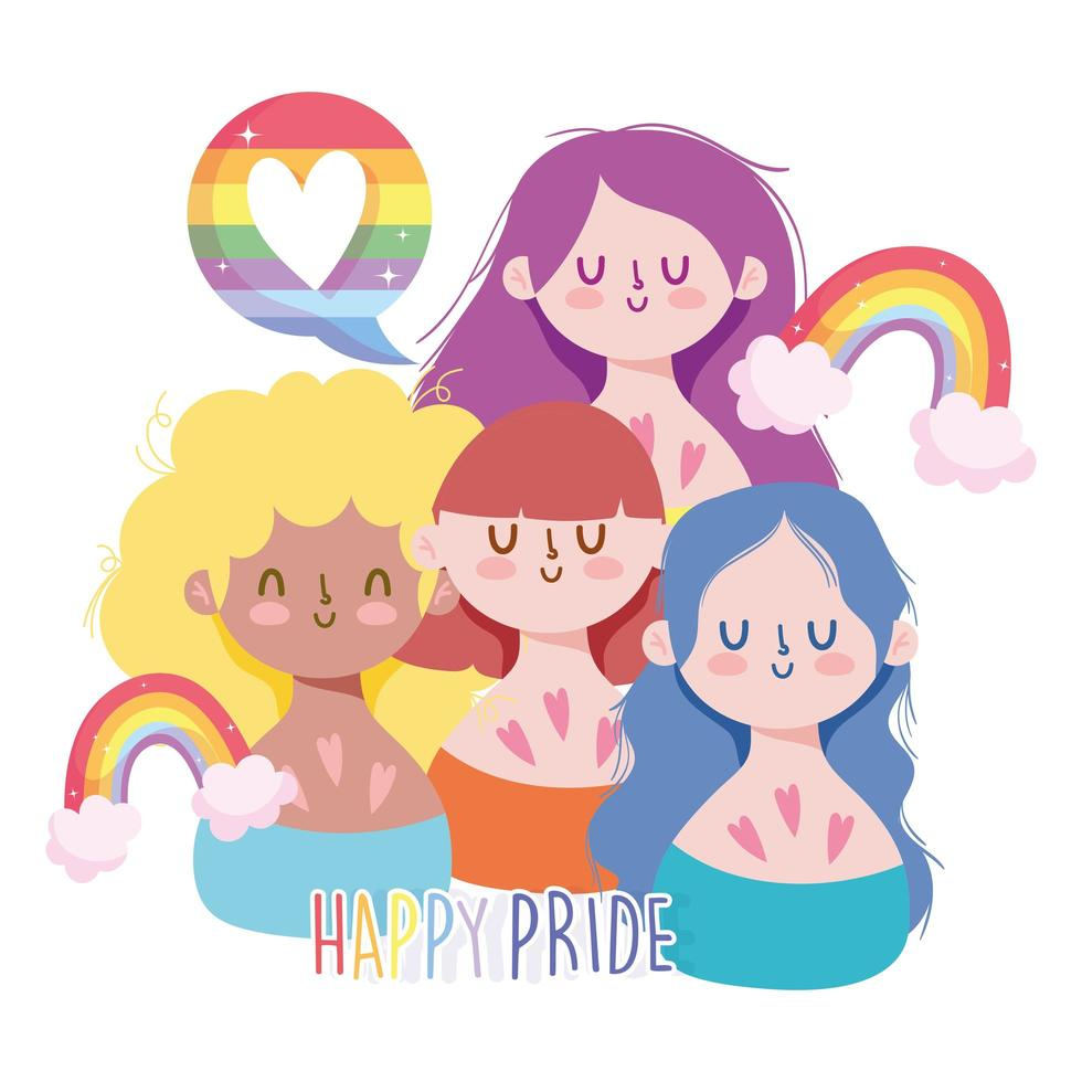 dibujos animados de chicas con arcoiris lgbti vector