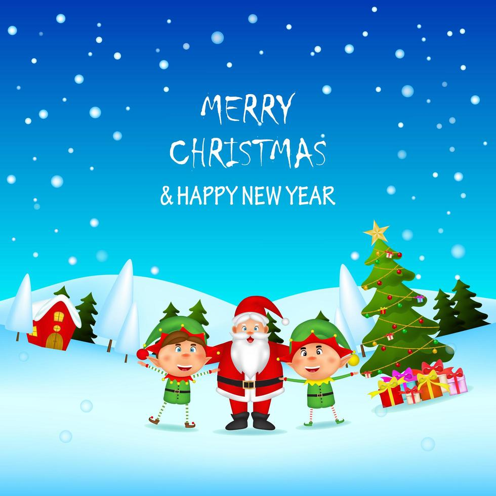 Christmas and New Year Scene with Santa and Elves vector