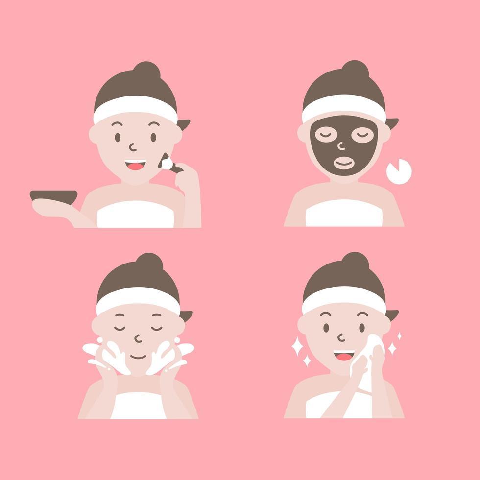 cómo aplicar los pasos de la mascarilla facial vector