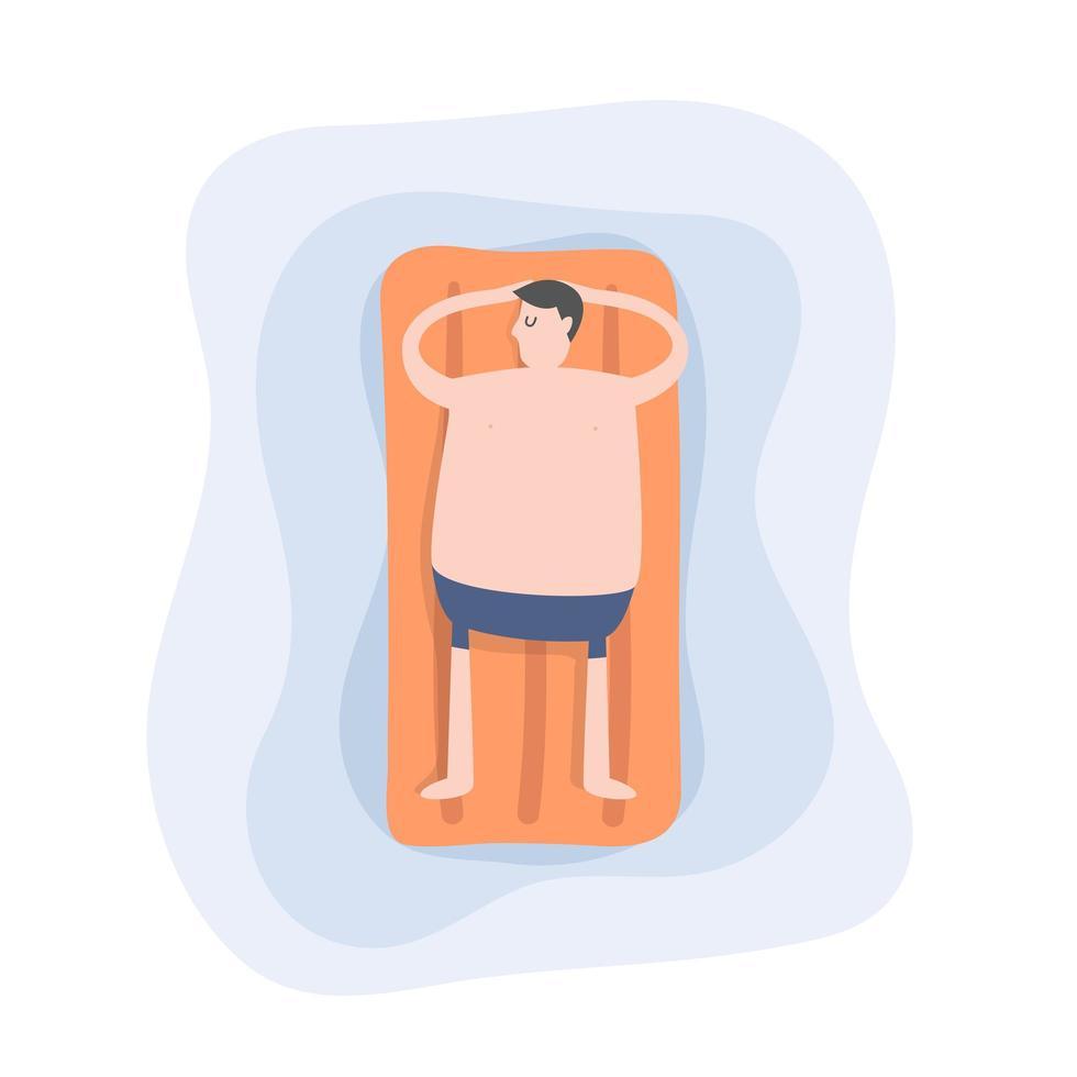 hombre se relaja en la piscina vector