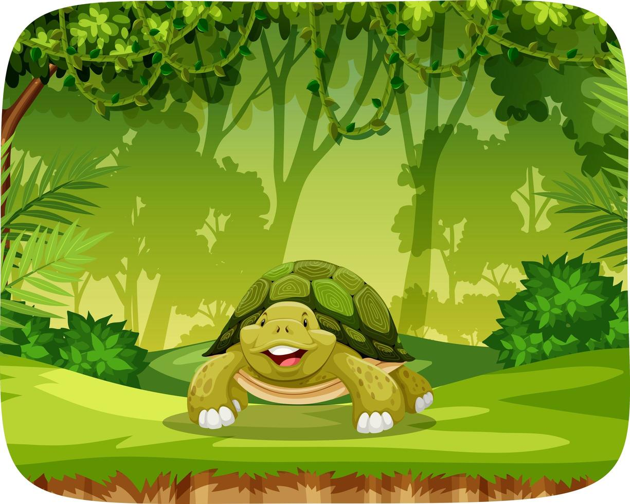 tortuga en el entorno del tema de la jungla vector