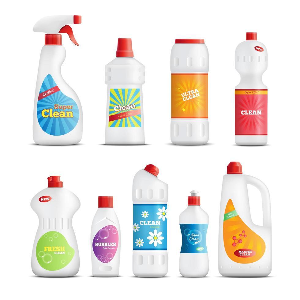 producto de limpieza juego de botellas realistas vector