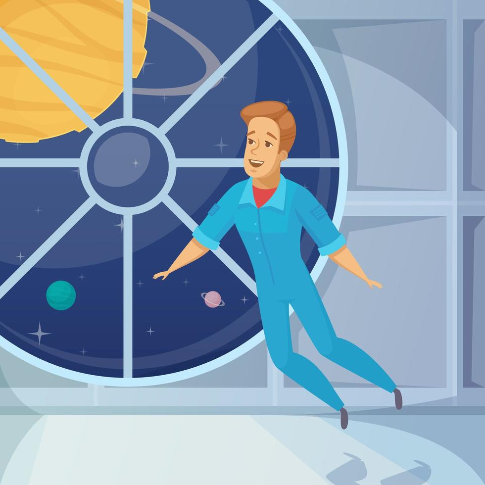 hombre astronauta flotando vector