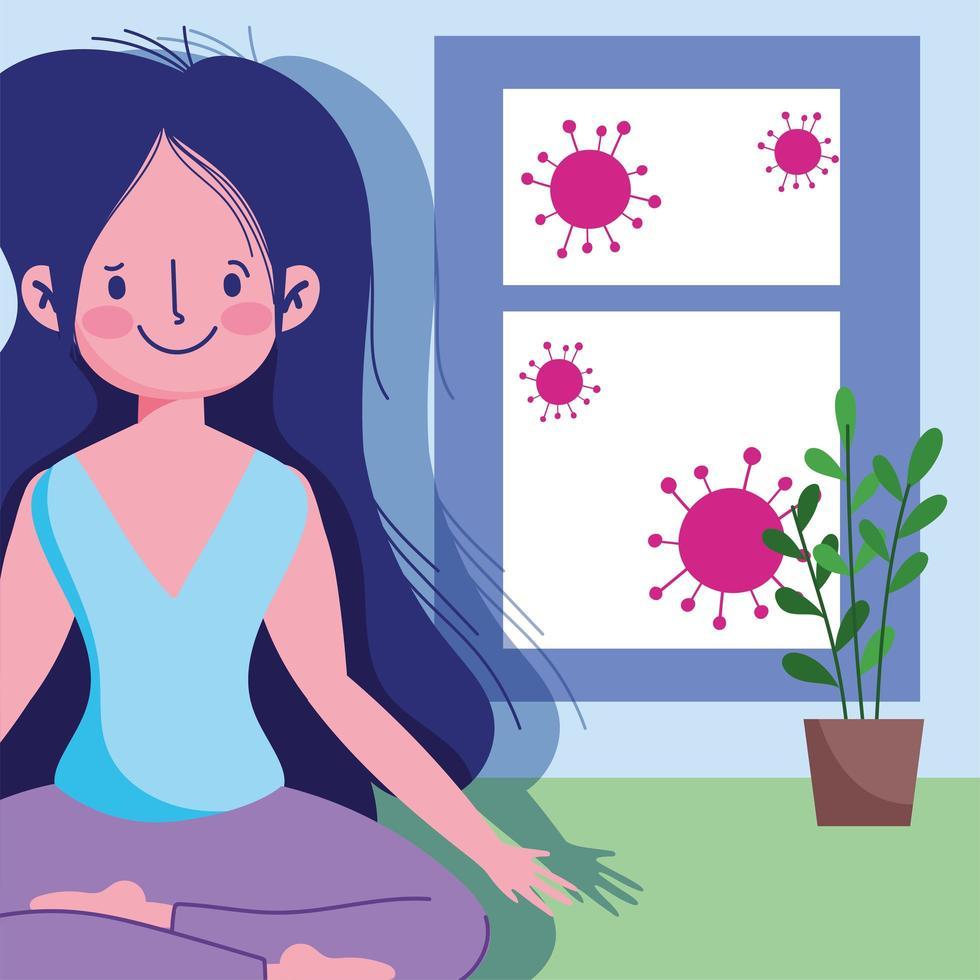 Mujer joven en pose de yoga de loto cerca de la ventana vector