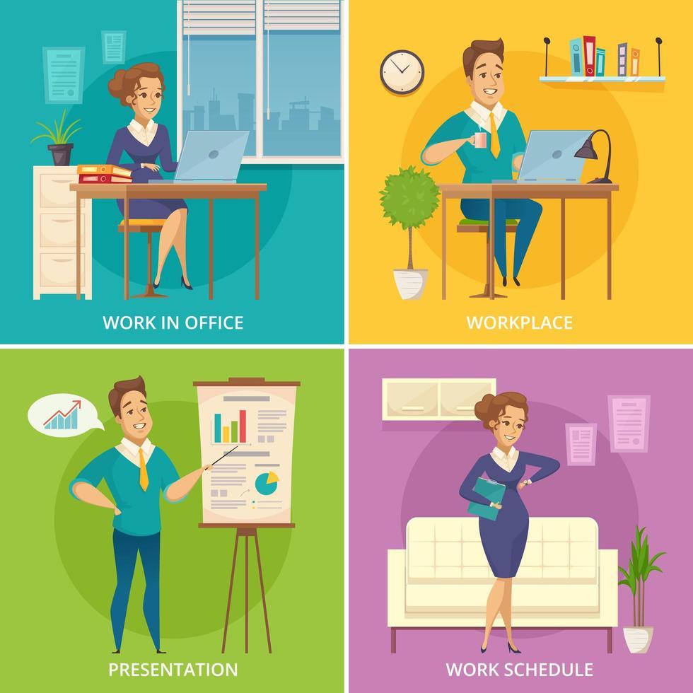Businesspeople working set vector