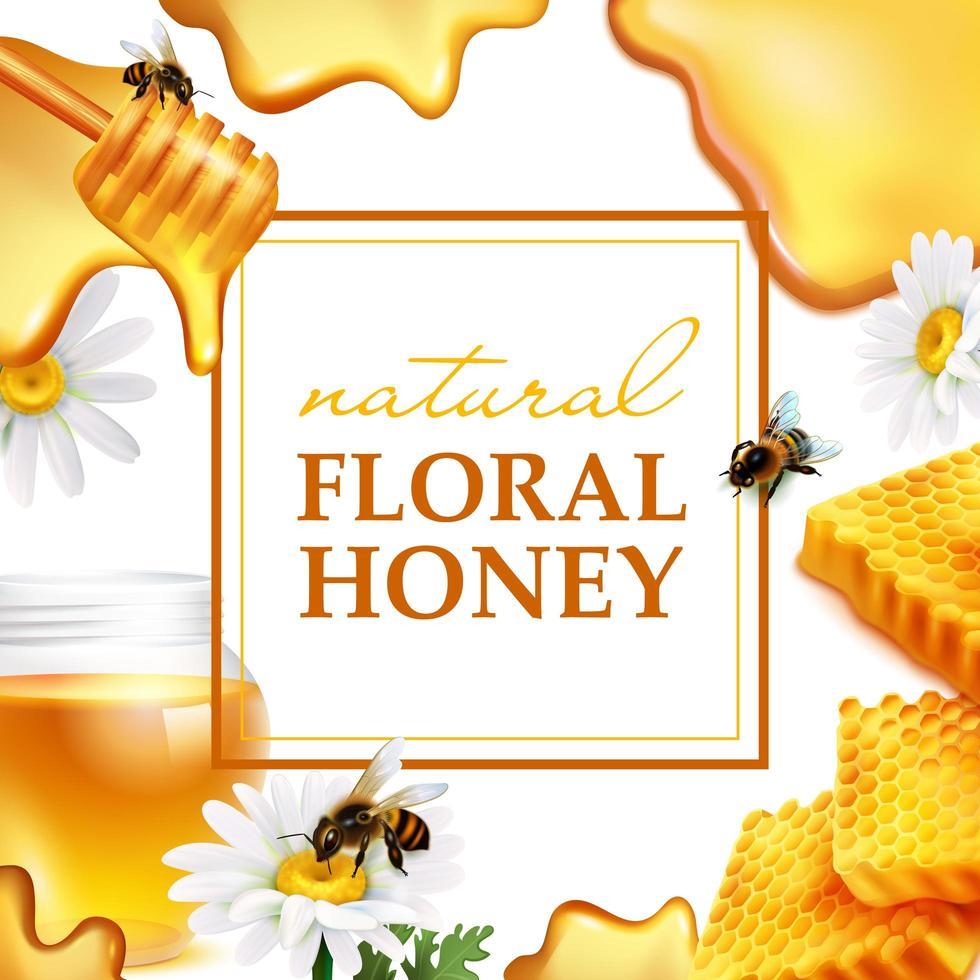 banner de miel natural realista vector