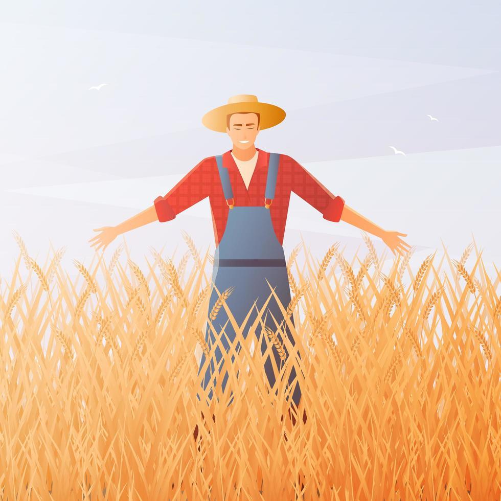 granjero feliz en un campo de trigo vector