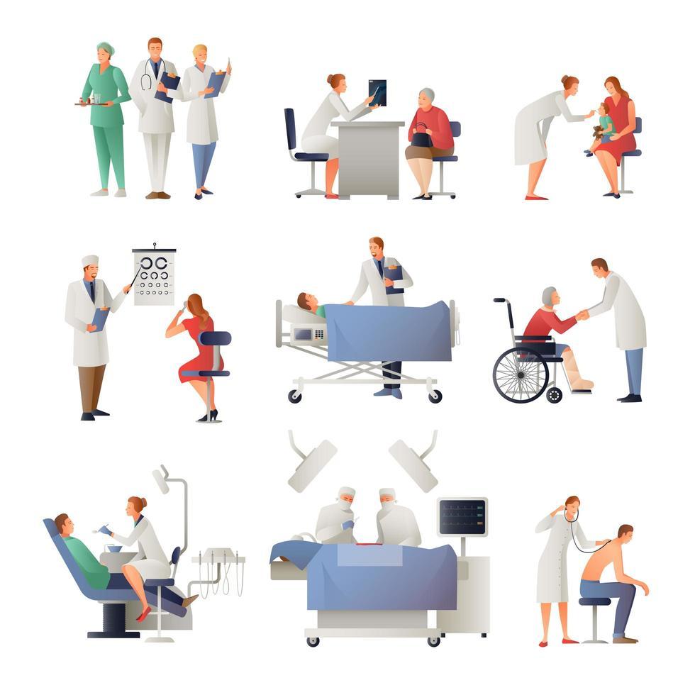 conjunto de médicos y enfermeras con pacientes. vector