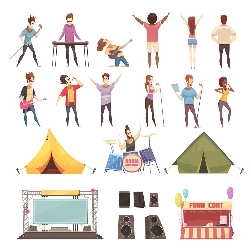 conjunto de elementos y personas del festival al aire libre vector