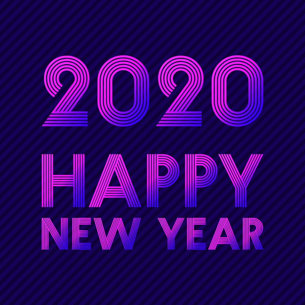 feliz año nuevo 2020 diseño de línea retro vector