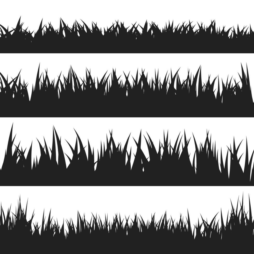 conjunto de siluetas de hierba negra vector