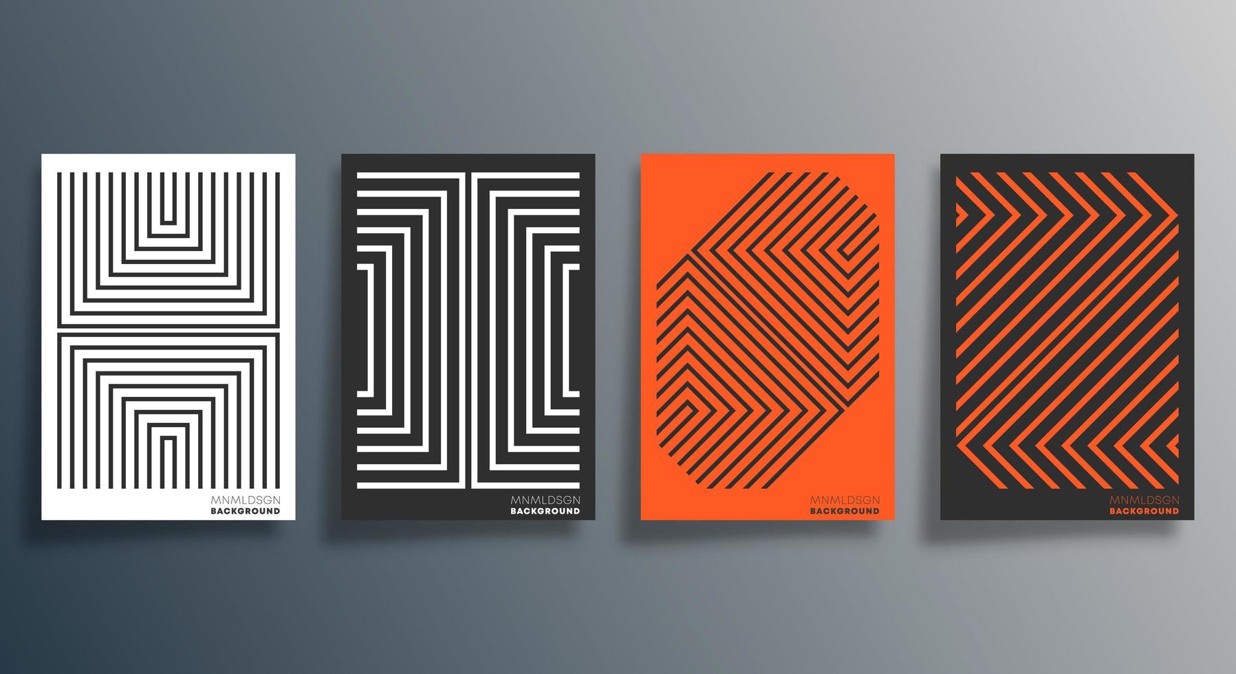 volante de diseño lineal naranja, negro, blanco, cartel, folleto vector