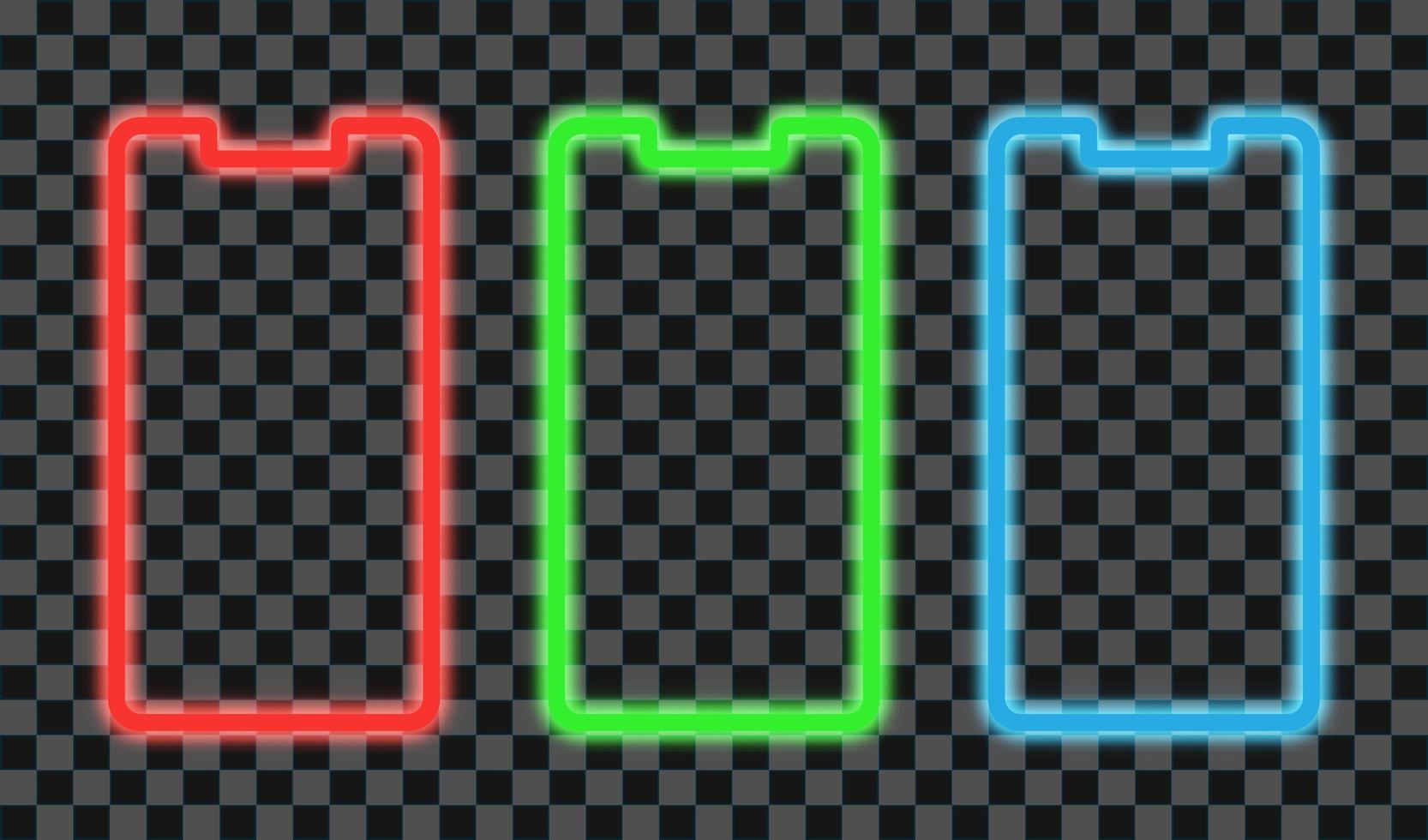 marco de teléfono inteligente diseño de línea de neón rojo, verde y azul vector