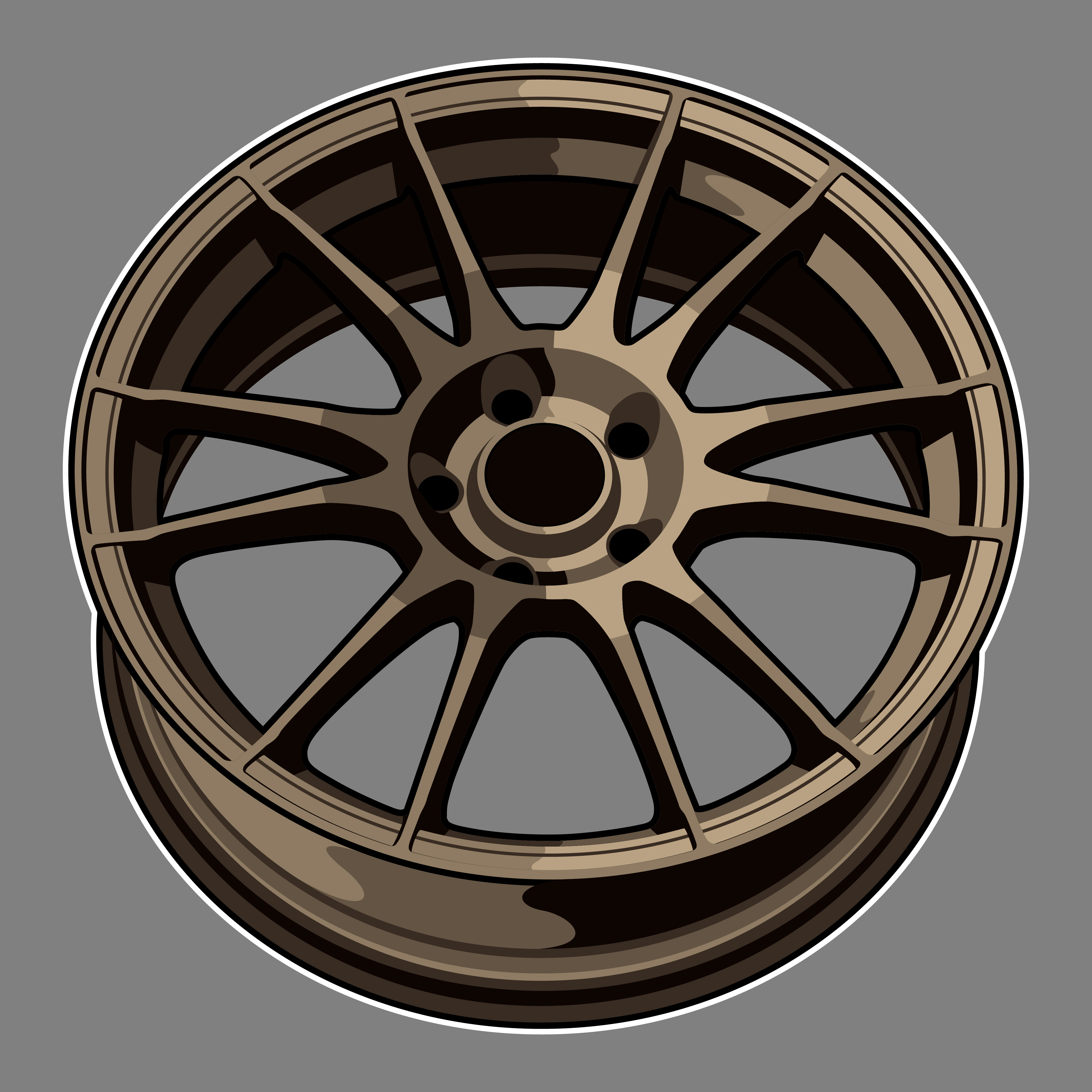 Bronze Color Car Wheel Drawing Download Free Vectors Clipart Graphics Vector Art